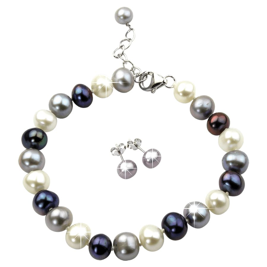 Smoky Pearl Earring and Bracelet Set_0810185_0