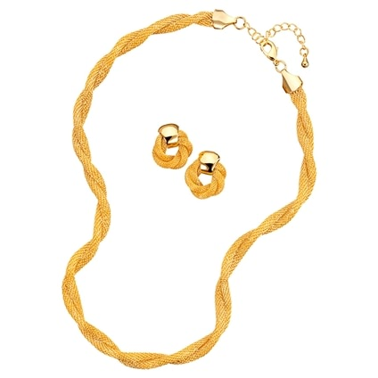 Classic Gold Mesh Chain Necklace and Earrings
